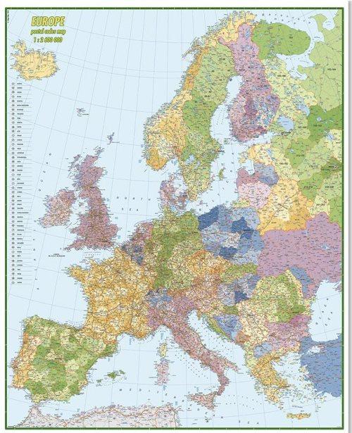 Г012 - Европа са поштанским бројевима ауто карта